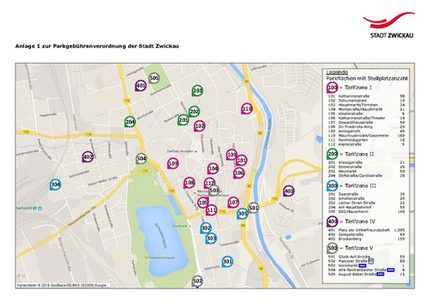 Zwickau Karte.Parkplätze Im Stadtzentrum Stadt Zwickau